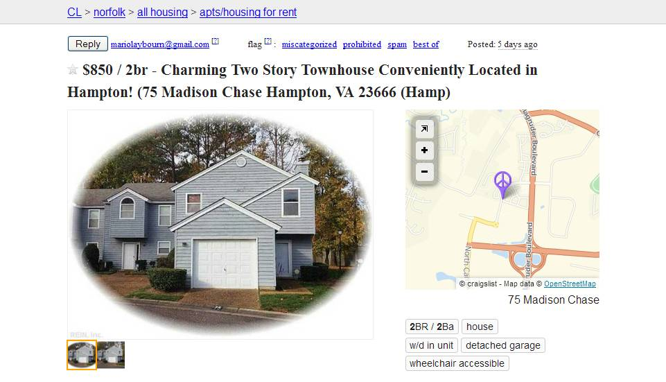 Craigslist Rooms For Rent In Hampton Va