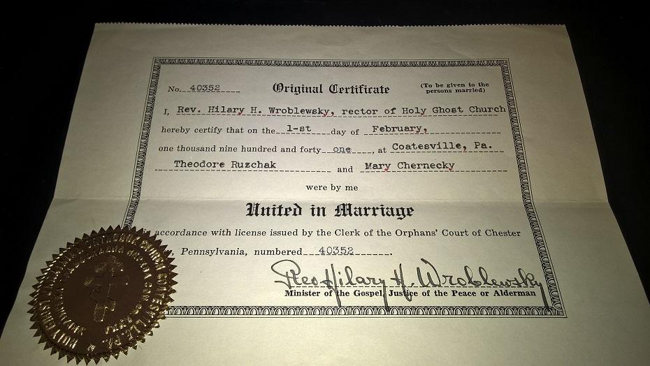 Genealogical Gems: Wedding Wednesday: Theodore Ruzchak weds Mary ...
