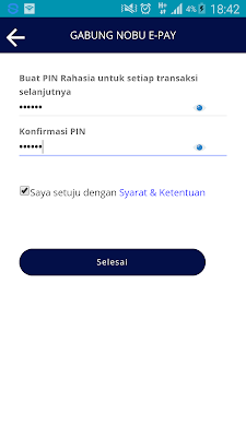 cara membuat pin di aplikasi nobuepay