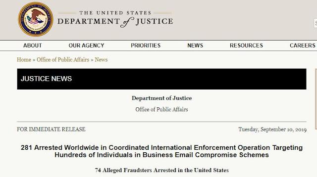 Operation ReWired arrests 281 Business Email Compromise criminals