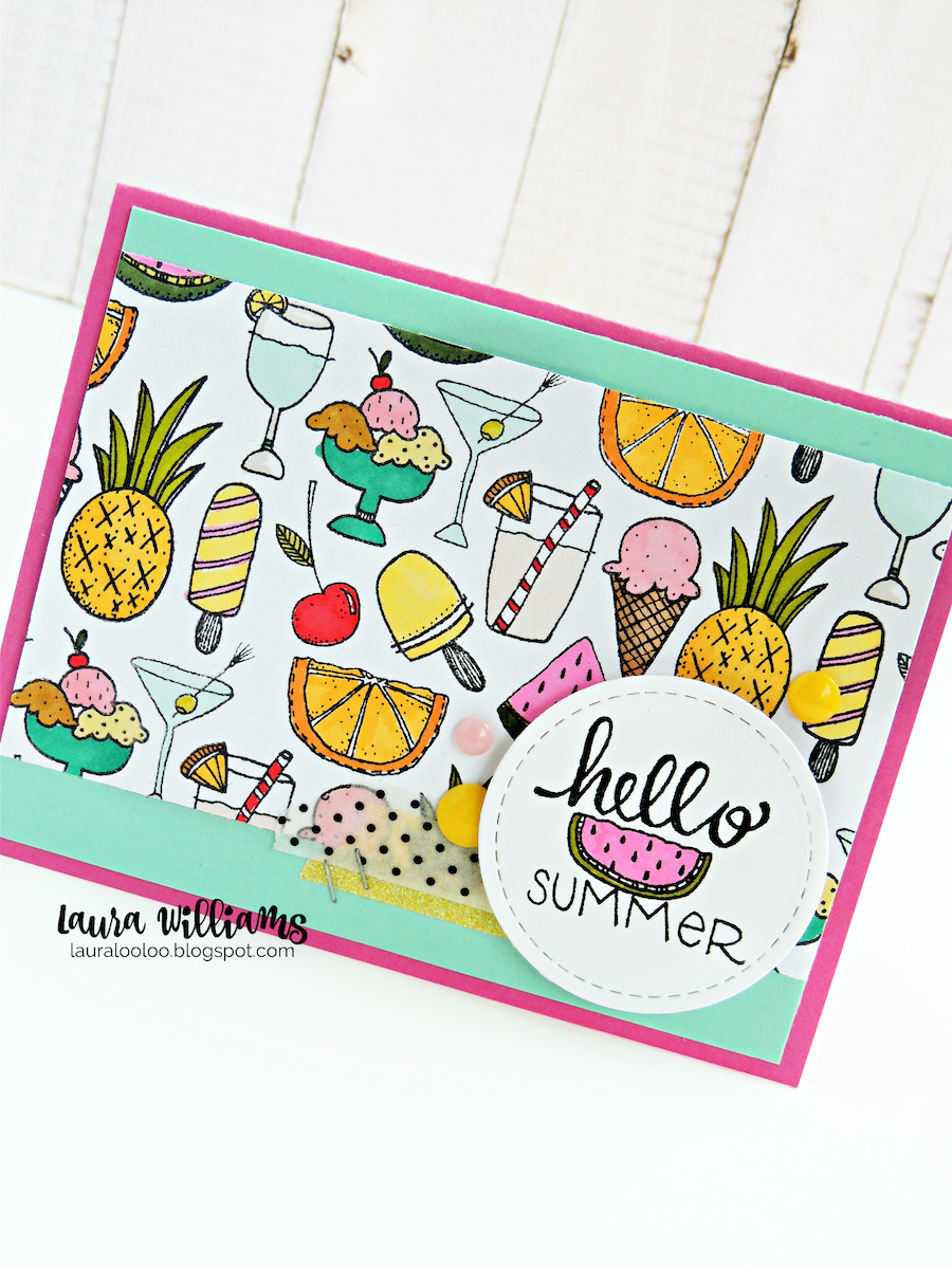 Make a colorful Hello Summer handmade card with Impression Obsession clear stamps #iostamps #cardmaking #stamping