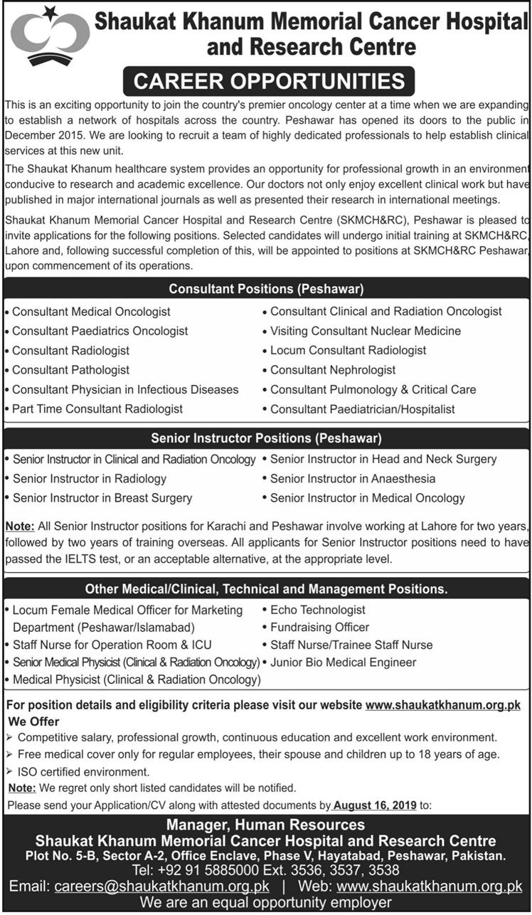 Advertisements for Shaukat Khanum Hospital Jobs