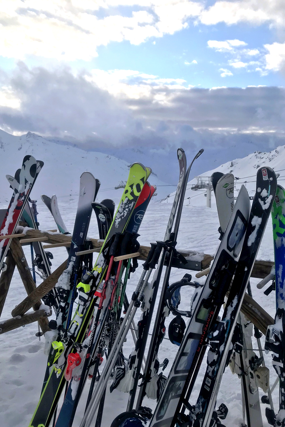 Skis at lunch in Val Thorens, France - travel & lifestyle blog