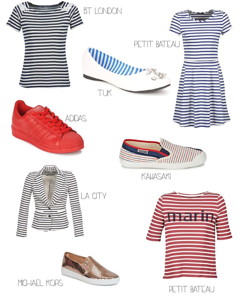 Sélection shopping chez Spartoo sur le thème de la marinière à rayures