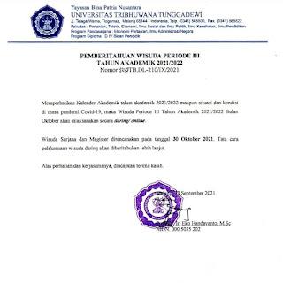 Rektor Keluarkan Surat Pemberitahuan, Wisuda Unitri Kembali Digelar Secara Daring