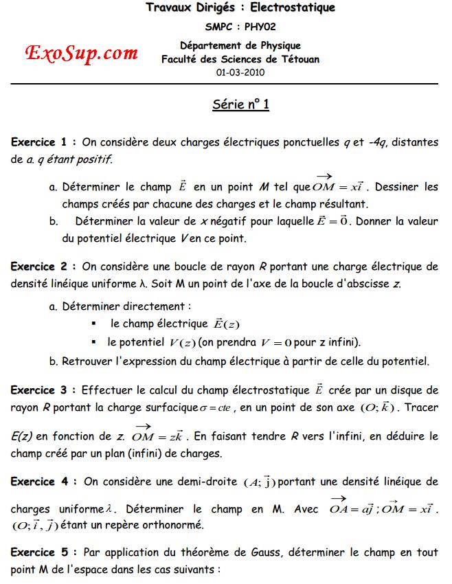 électrostatique serie n°1