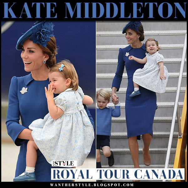 Kate Middleton in blue high collar midi dress jenny packham royal tour canada september 25 what she wore