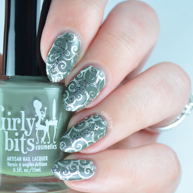army green nail polish with silver water slide decals
