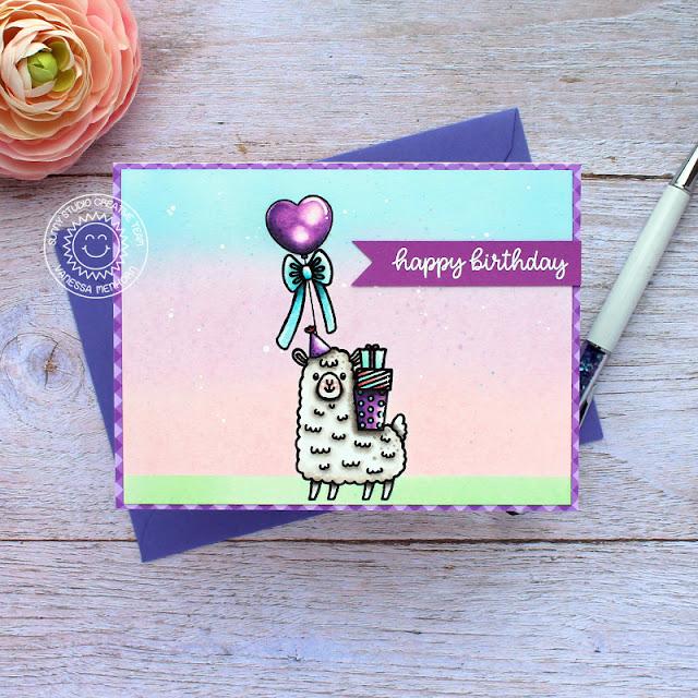 Sunny Studio Stamps: Lovable Llama Inside Greetings Llama Themed Birthday Card by Vanessa Menhorn