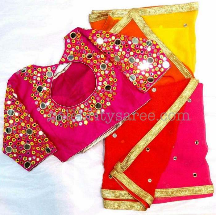 Mirror work blouses with simple saris saree blouse patterns for Mirror work saree