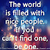 The world is filled with nice people. If you can't find one, be one.