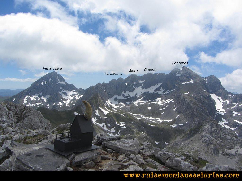 Ruta Tuiza Fariñentu Peña Chana: Vista de Ubiña, Castillines, Siete, Crestón del Pasu Malu y Fontanes desde el Fariñentu
