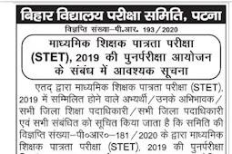 STET 2019 Re-Examination Admit card