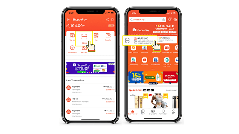 You can easily choose Scan in your Shopee Wallet