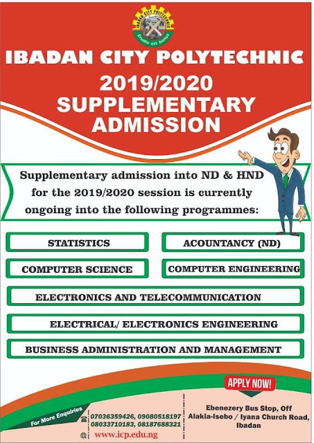 Ibadan City Polytechnic Admission Form 2019/2020 [SUPPLEMENTARY]