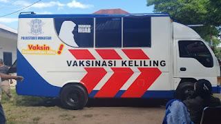 Kendaraan Mobile Vaksinasi Hijab, Inovasi Terbaru Sat Lantas Polrestabes Makassar