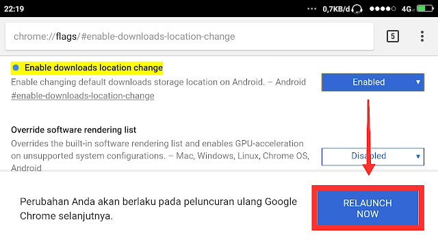 cara mengubah lokasi download di google chrome android