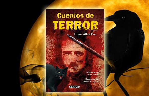 Libro Edgar Allan Poe, cuentos de terror sobre un fondo de una luna y un cuervo