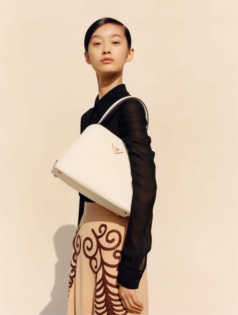Ruiqi Jiang poses in Prada spring-summer 2020 campaign