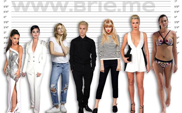 Ariana Grande, Selena Gomez, Hailey Baldwin, Justin Bieber, Taylor Swift, Ireland Baldwin, and Karlie Kloss height comparison