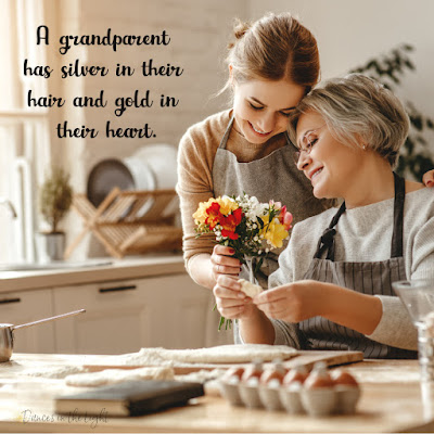 A grandparent has silver in their hair and gold in their heart.