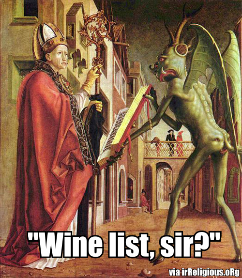 Funny Religious Caption Competition #22 - Wine list, sir?