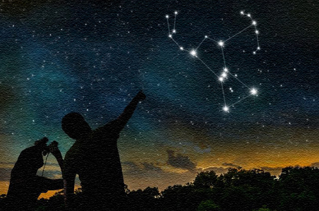 Stargazers pointing out the constellation Orion. Original image by Night Skygaze.