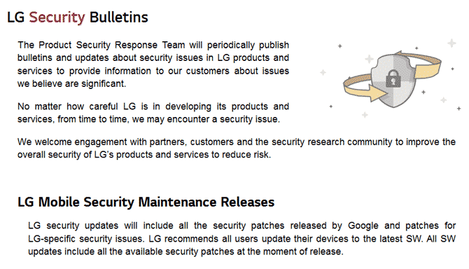 LG security bulletins XDA
