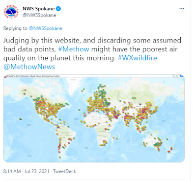 Tweet from National Weather Service saying that air quality in the Methow may be the worst on the planet