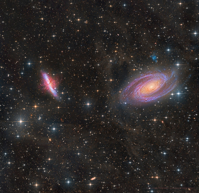 """M81 - The Cigar Galaxy and M82 - Bode's Galaxy in Ursa Major. Image processed by Insight Observatory Starbase subscriber, Daniel Nobre from image data acquired on the 16"""" f/3.7 Dream astrograph reflector (ATEO-1)."""
