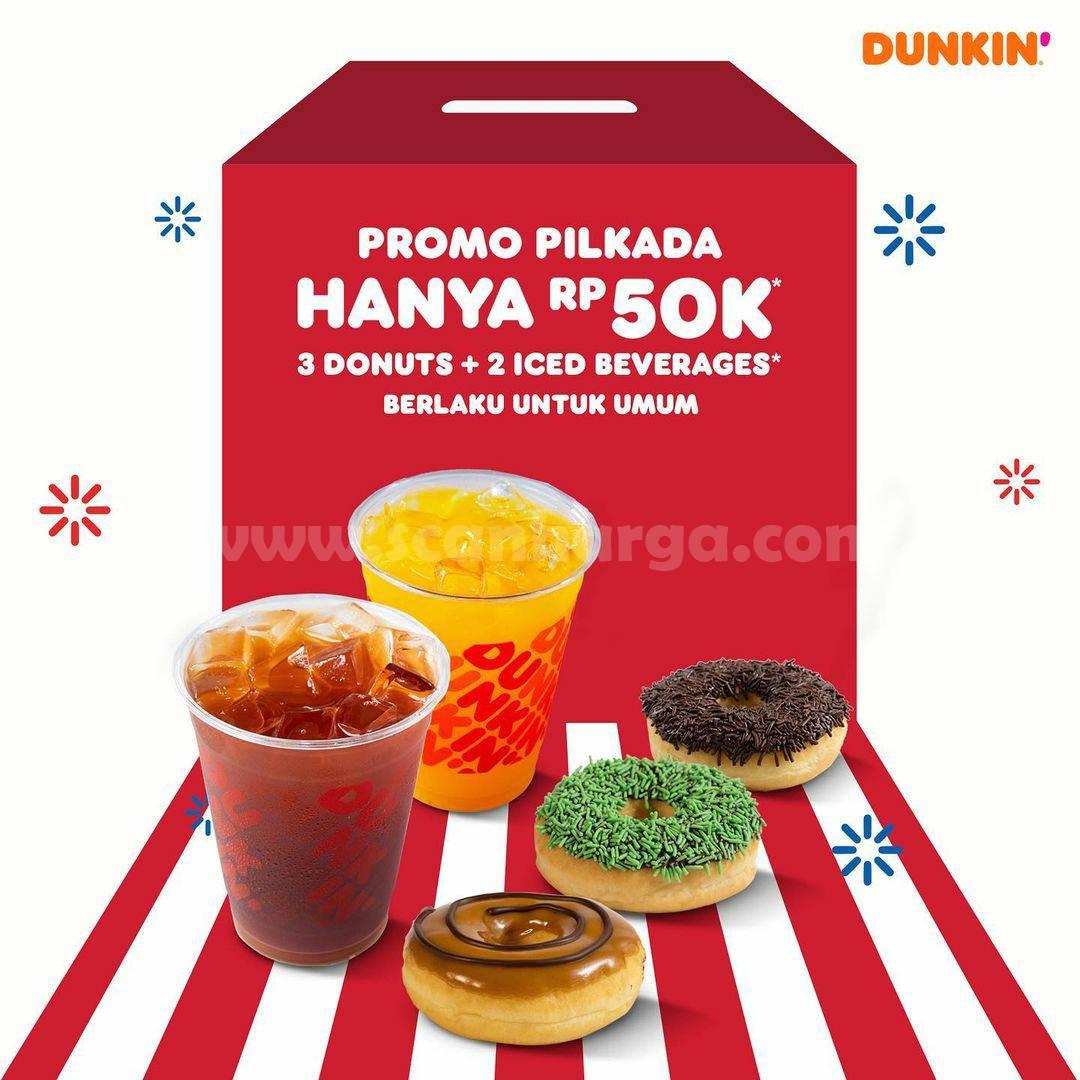 Dunkin Donuts Promo Pilkada 3 Donuts & 2 Minuman hanya Rp 50.000