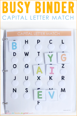 Capital letter match busy binder