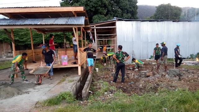 Ciptakan Stabilitas Keamanan, Satgas Yonif MR 413 Kostrad Bangun Pos Kamling di Ujung Batas RI-PNG