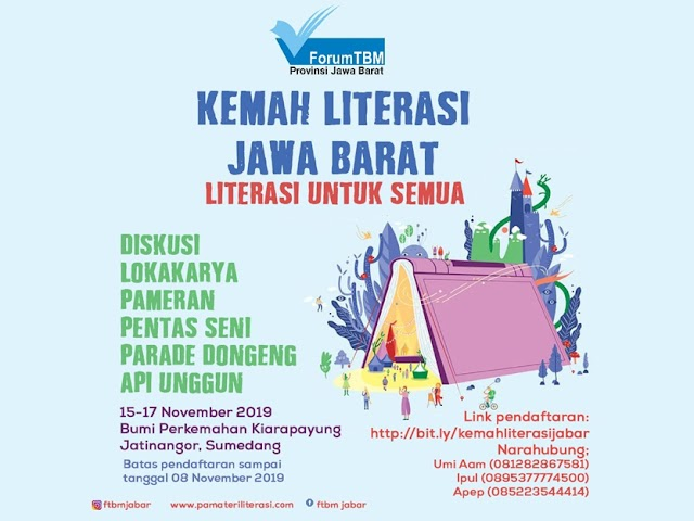Kemah Literasi Jawa Barat Bakal Digelar  15 - 17 November 2019 di Kiarapayung