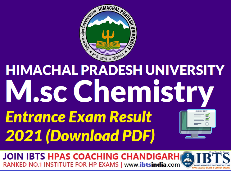 HPU Shimla M.sc Chemistry Entrance Exam Result 2021 (Download PDF)