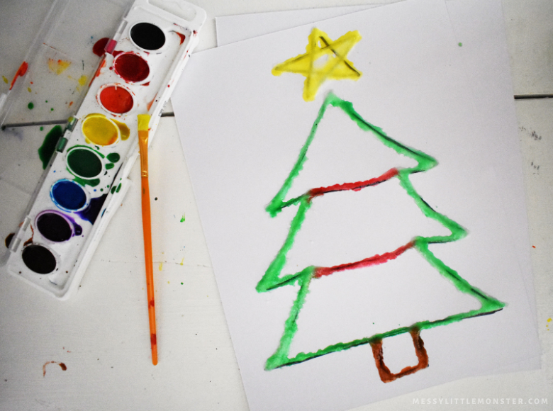 Christmas raised salt painting craft for kids