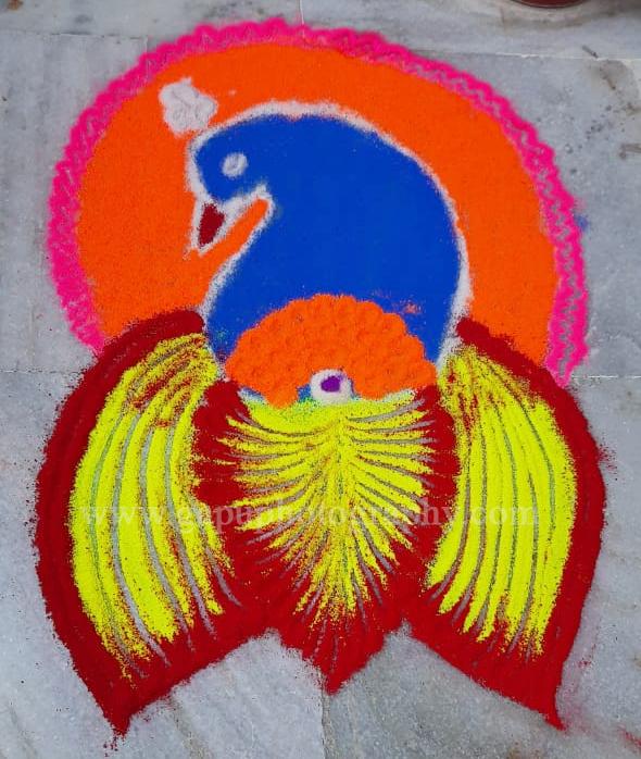Mayura design Muruja or Rangoli on Panchaka Purnima 2020