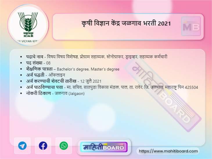 KVK Jalgaon Bharti 2021
