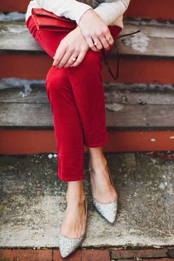 Sparkly flats + red pants