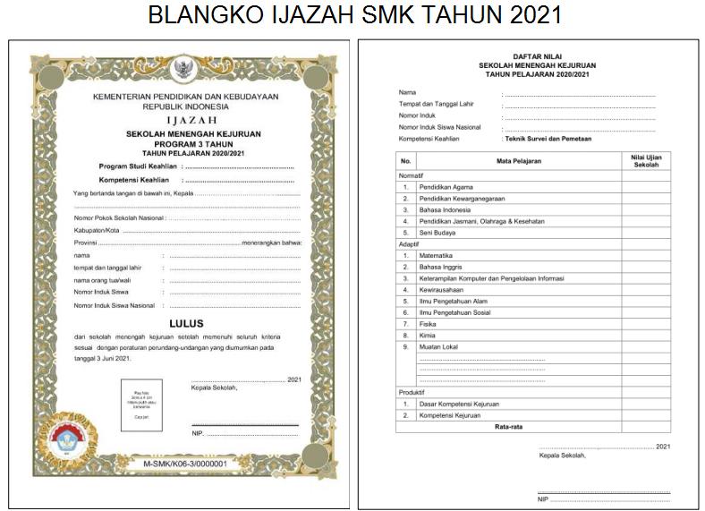 Form Blanko Ijazah SMK