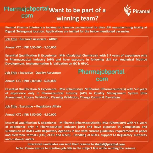Job Opening at Piramal Pharma apply now