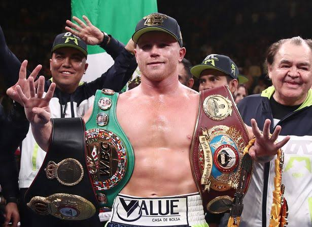 Canelo Alvarez with titles