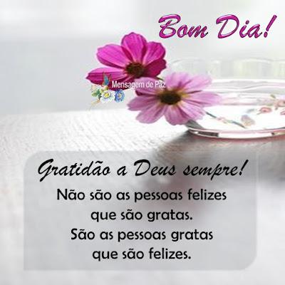 Gratidão a deus sempre!  Não são as pessoas felizes   que são gratas.  São as pessoas gratas   que são felizes.  Bom Dia!