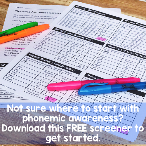 Grab this easy to use and free screening tool to assess your students phonemic awareness skills.