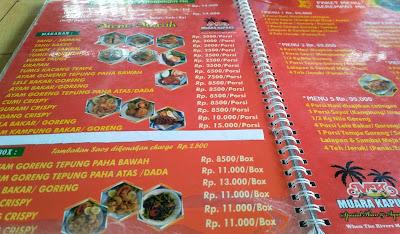 Daftar Menu RM Muara Kapuas