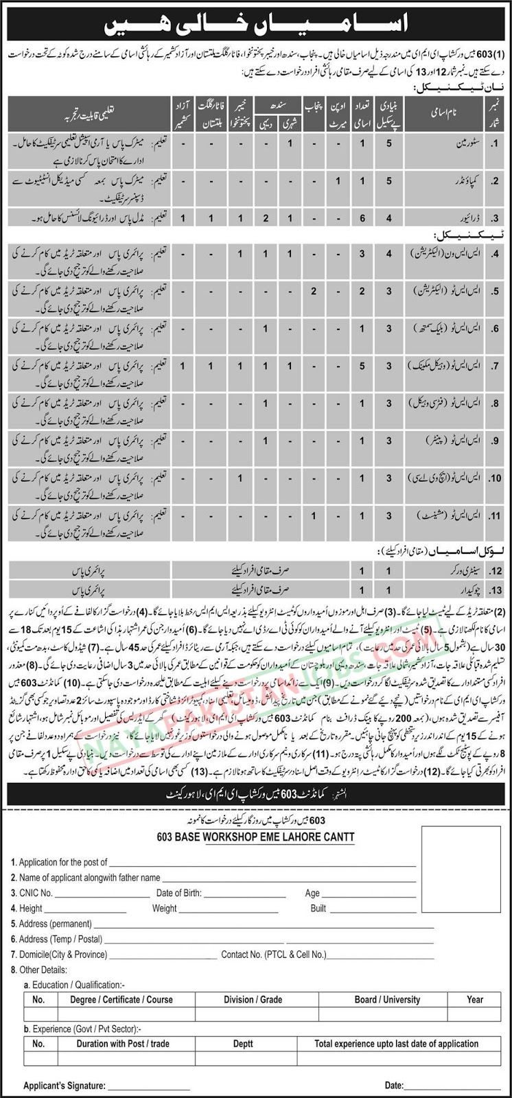 Latest Vacancies Announced in Pakistan Army Lahore at 603 Base Workshop EME 12 November 2018 - Naya Pakistan