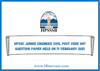 HPSSC Junior Engineer Civil Post Code 847 Question Paper Held on 17 february 2021