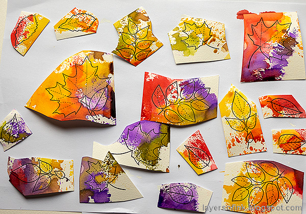 Layers of ink - Autumn Sketchbook / Notebook diy Tutorial by Anna-Karin Evaldsson. Ink leaves with distress ink.