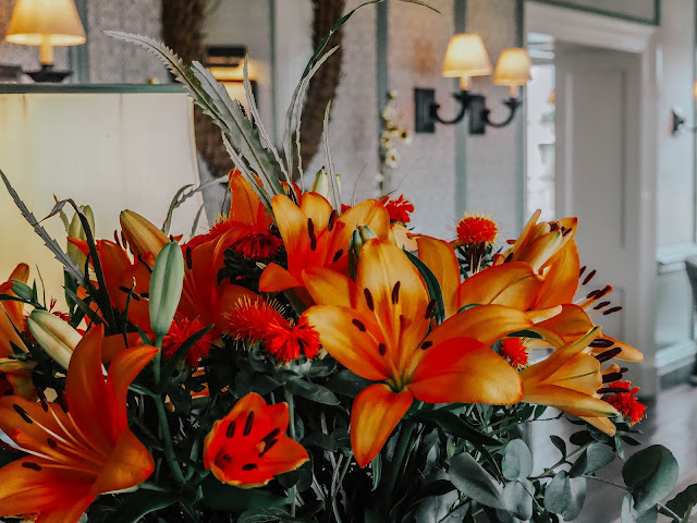 Luxury hotel orange flowers