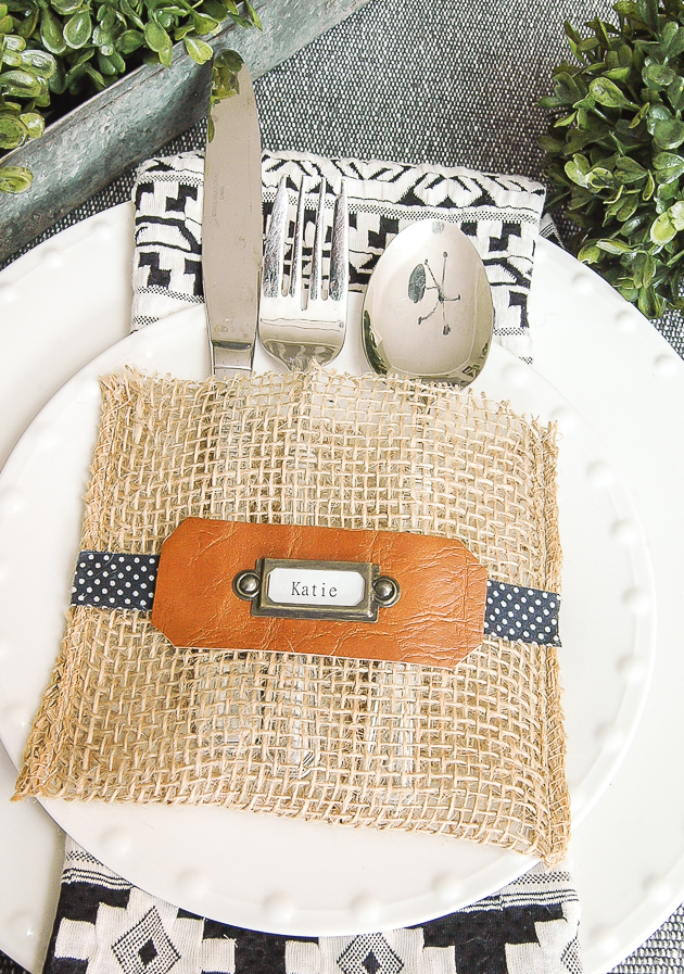 burlap utensil holder, burlap ribbon